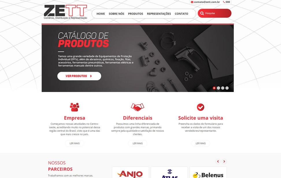 Criação de site - ZETT Brasil Comércio, Distribuição e Representação
