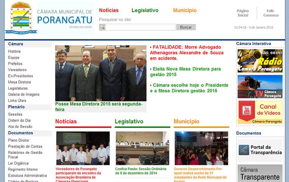 Criação de site - Câmara Municipal de Porangatu